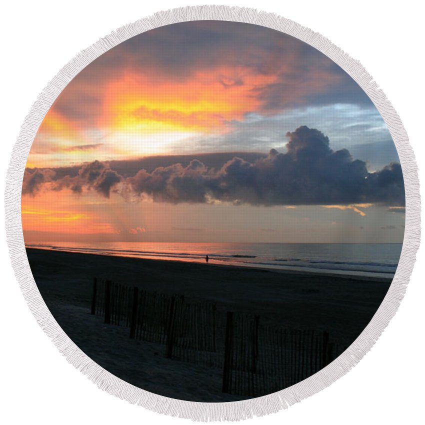 Clouds Round Beach Towel featuring the photograph Rolling Clouds by Candy Bott