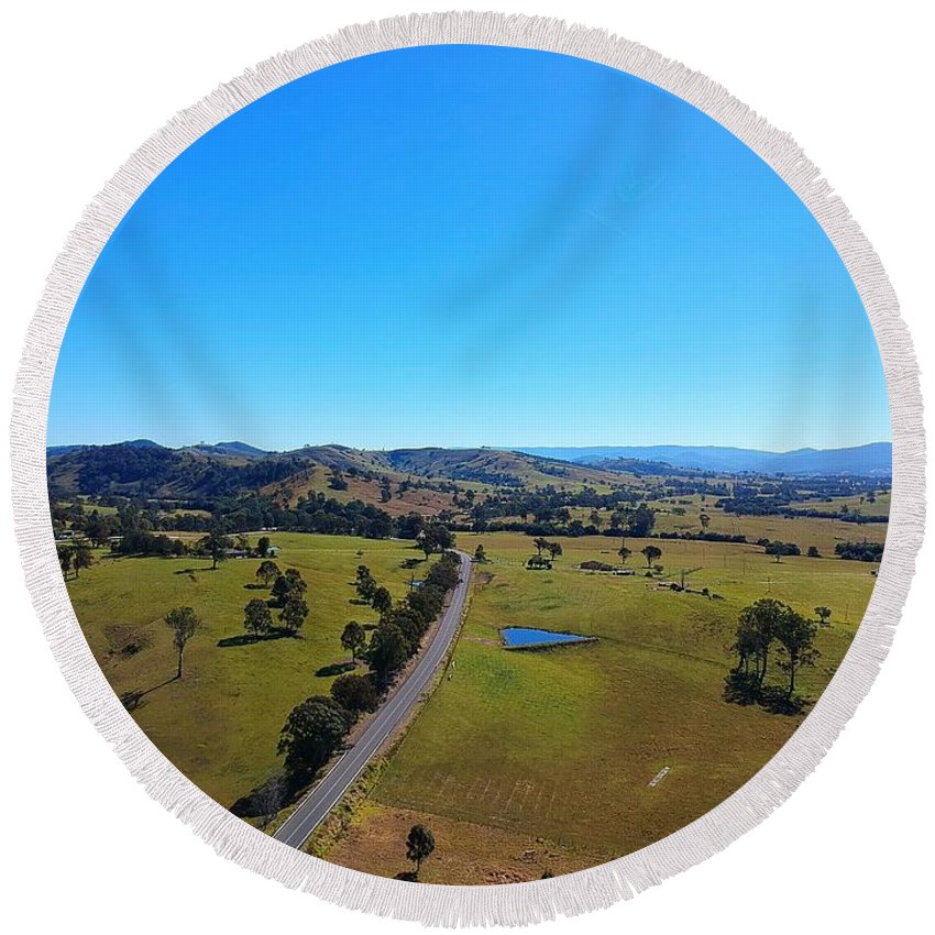 Round Beach Towel featuring the photograph Rolling Hills by Aithyn Grove