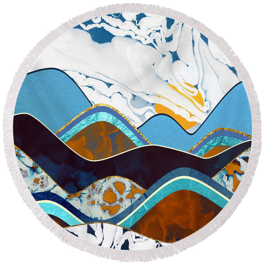 Hills Round Beach Towel featuring the digital art Rolling Hills by Spacefrog Designs