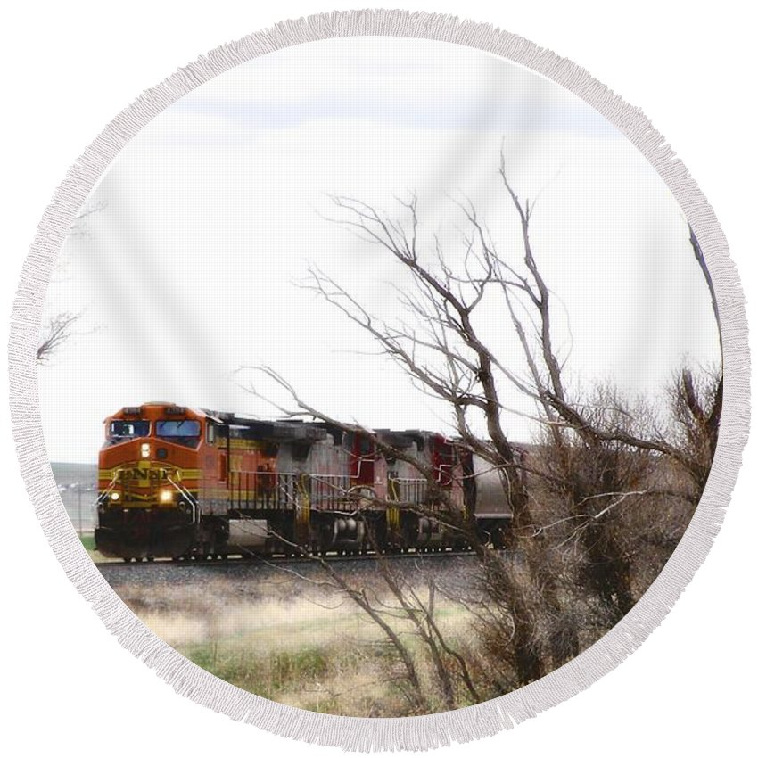 Train Round Beach Towel featuring the photograph Rolling Into View by Susan Kinney