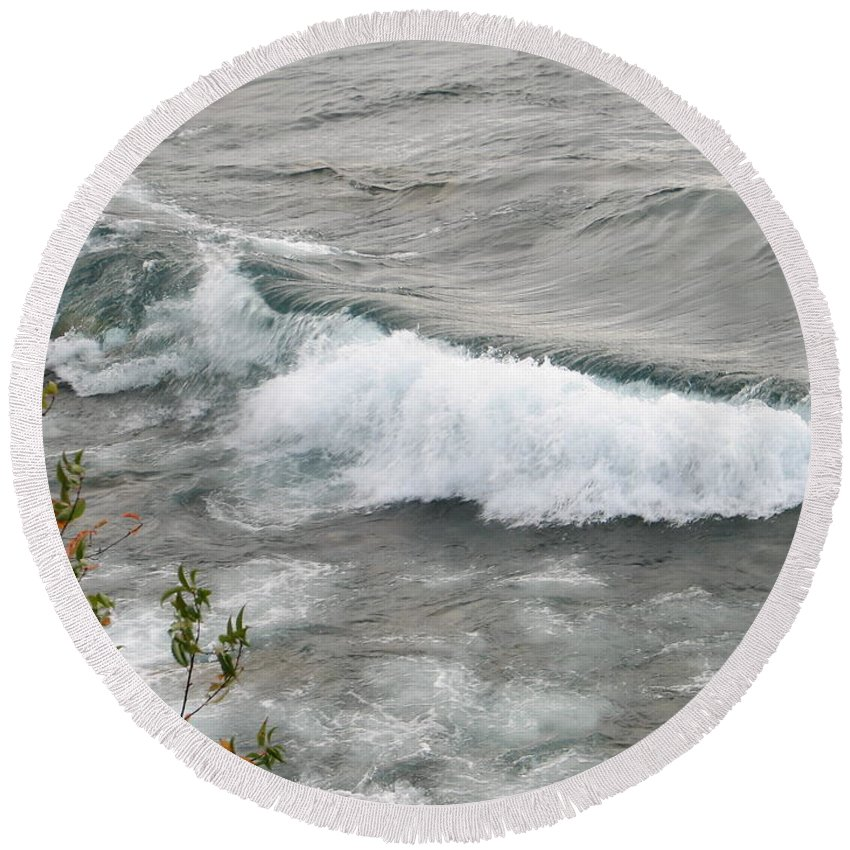 Wave Round Beach Towel featuring the photograph Rolling by Kelly Mezzapelle