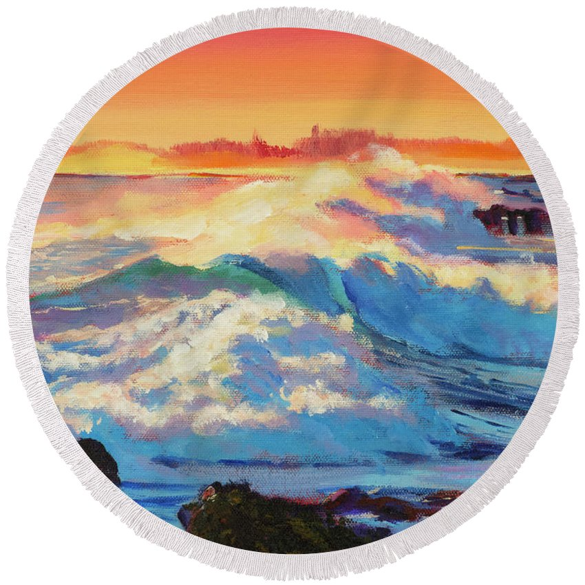 Seascape Round Beach Towel featuring the painting Rolling Ocean Surf - Plein Air by David Lloyd Glover