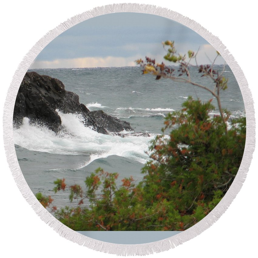 Waves Round Beach Towel featuring the photograph Rolling Storm by Kelly Mezzapelle
