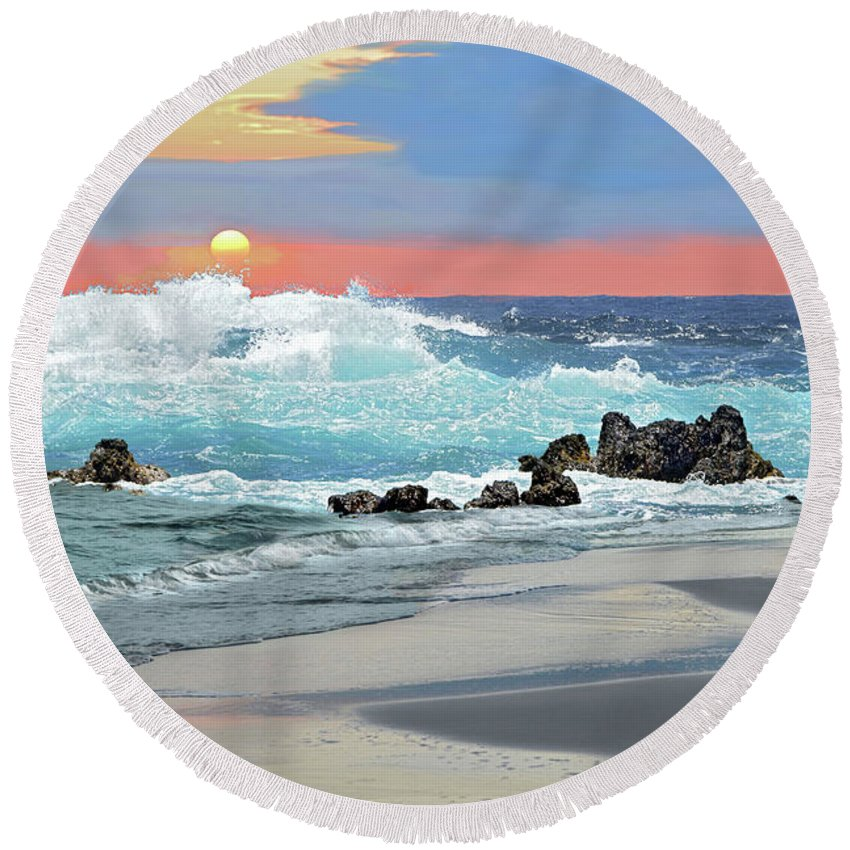 Beach Round Beach Towel featuring the photograph Rolling Surf by Jeannee C Gannuch