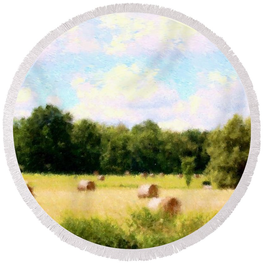 Nature Round Beach Towel featuring the photograph Rolling The Hay by David Lane