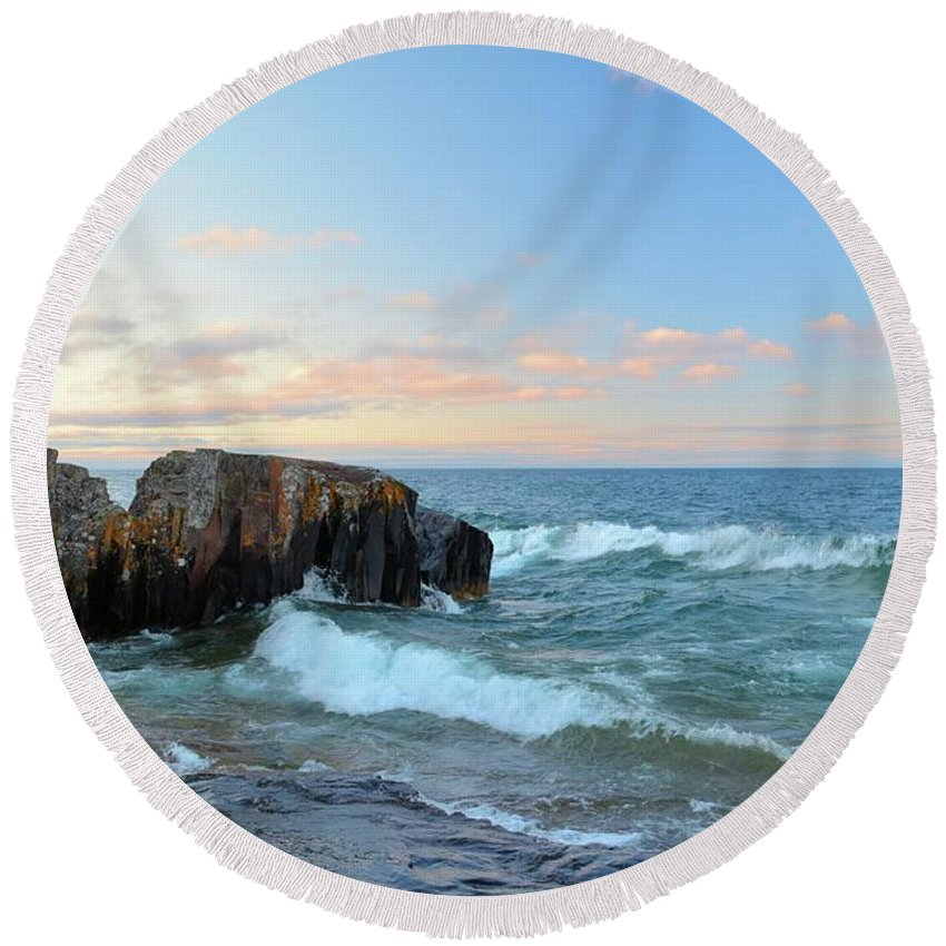 Lake Round Beach Towel featuring the photograph Rolling Waves On Superior by Bonfire Photography