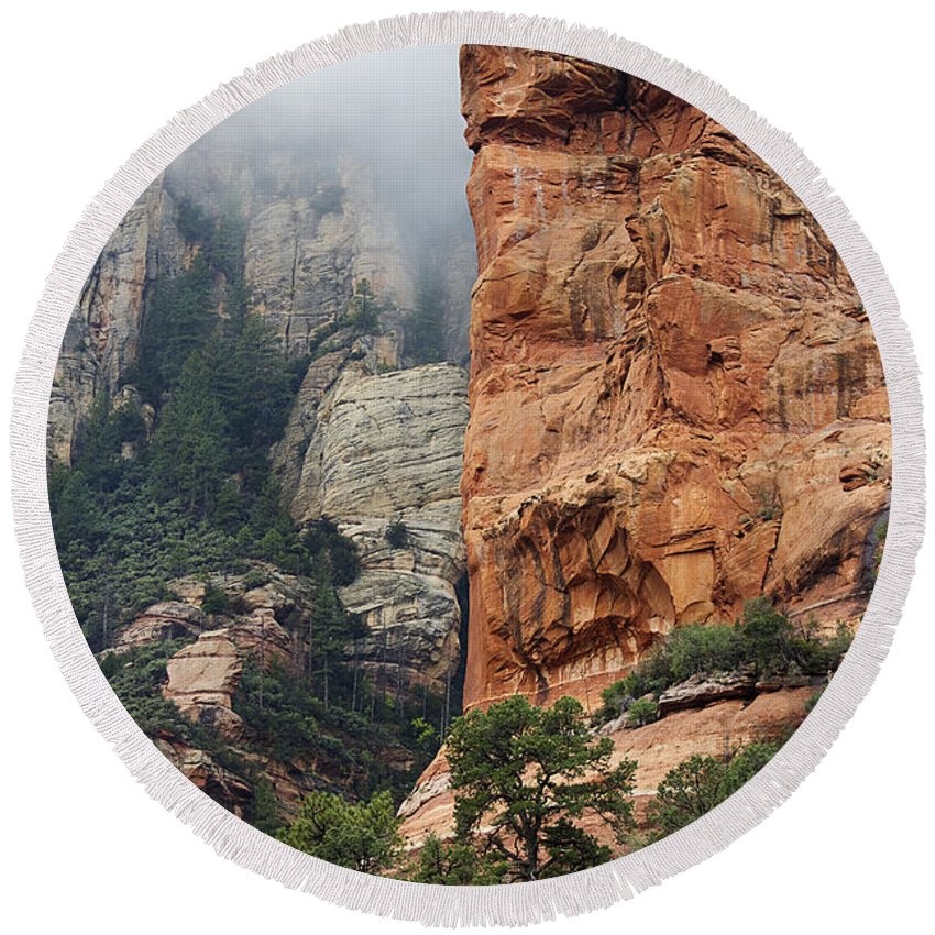 Sedona Round Beach Towel featuring the photograph Rollings Mists by Phyllis Denton