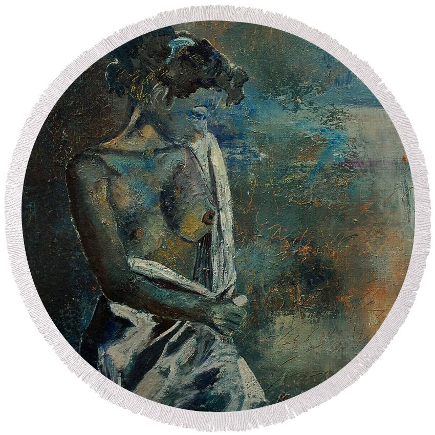 Nude Round Beach Towel featuring the painting Roman Nude 45 by Pol Ledent
