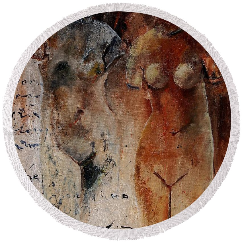 Nude Round Beach Towel featuring the painting Roman Nudes 45 by Pol Ledent
