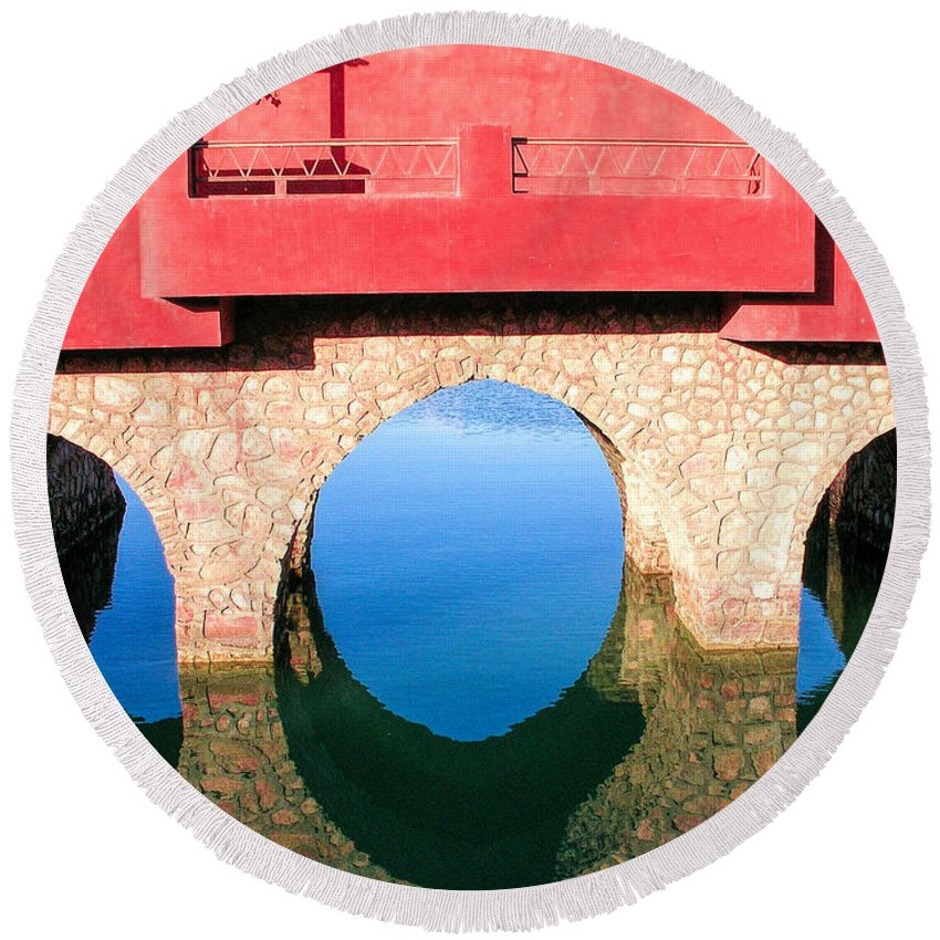 Roman Round Beach Towel featuring the photograph Roman Style Bridge On Red Sea by Jean-Yves Salou