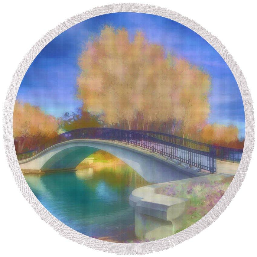 Elizabeth Park Bridge Round Beach Towel featuring the digital art Romance At Elizabeth Park Bridge by Ruth Moratz