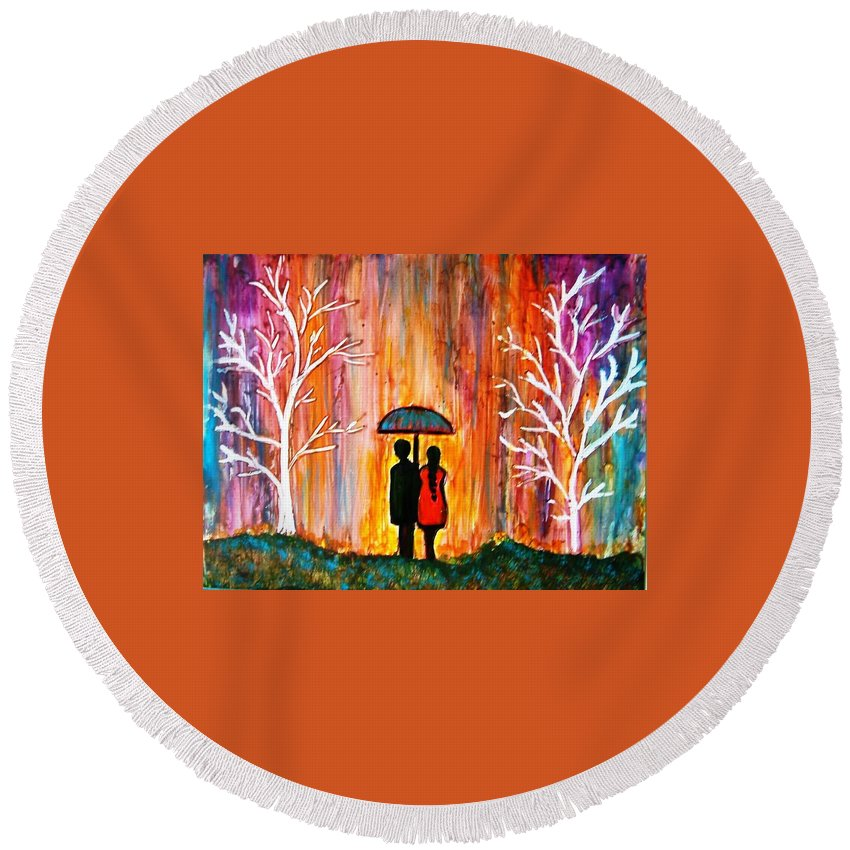Romantic Painting Figures Romance Umbrella Rain Blue Red Orange People Trees Abstract Figures Love Valentine Purple Abstract Landscape Round Beach Towel featuring the painting Romance In The Rain by Manjiri Kanvinde