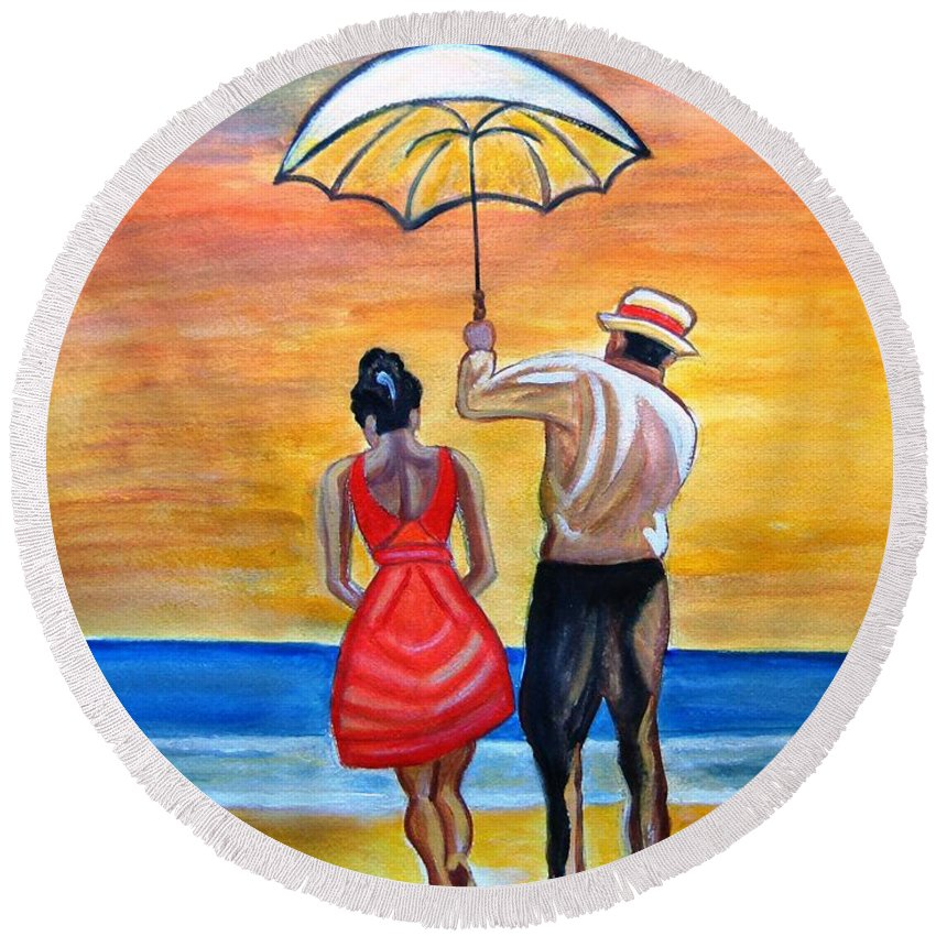 Romantic Painting Figures Romance Umbrella Beach Blue Red Orange People Valentine Sand Round Beach Towel featuring the painting Romance On The Beach by Manjiri Kanvinde