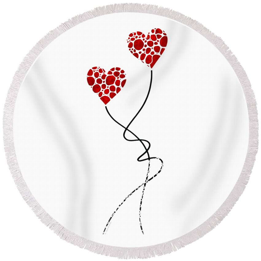 Love Round Beach Towel featuring the painting Romantic Art - You Are The One - Sharon Cummings by Sharon Cummings
