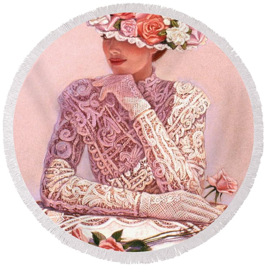 Woman Round Beach Towel featuring the painting Romantic Lady by Sue Halstenberg