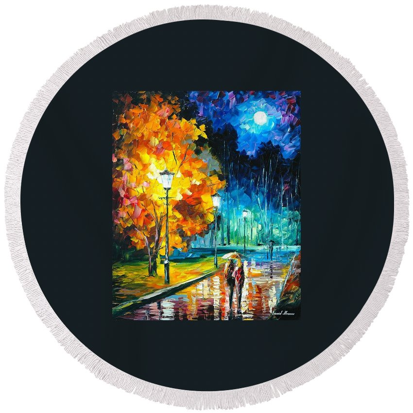 Art Gallery Round Beach Towel featuring the painting Romantic Night 2 - Palette Knife Oil Painting On Canvas By Leonid Afremov by Leonid Afremov