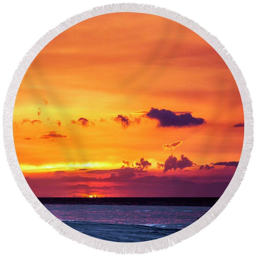 Romantic Sunset At The Cuban Beach; Cuban; Cuba; Sunset; Beach; Couple; Beach; Sand; Sea; Seaside; Shore; Clouds; Sun; Romance; Romantic; Colourful; Hope; Faith; Love; Happiness; Photography & Digital Art; Photography; Photo; Photo Art; Art; Digital Art; 2bhappy4ever; 2bhappy4ever.com; 2bhappy4evercom; Tobehappyforever; Round Beach Towel featuring the photograph Romantic Sunset at the Cuban Beach by Erron