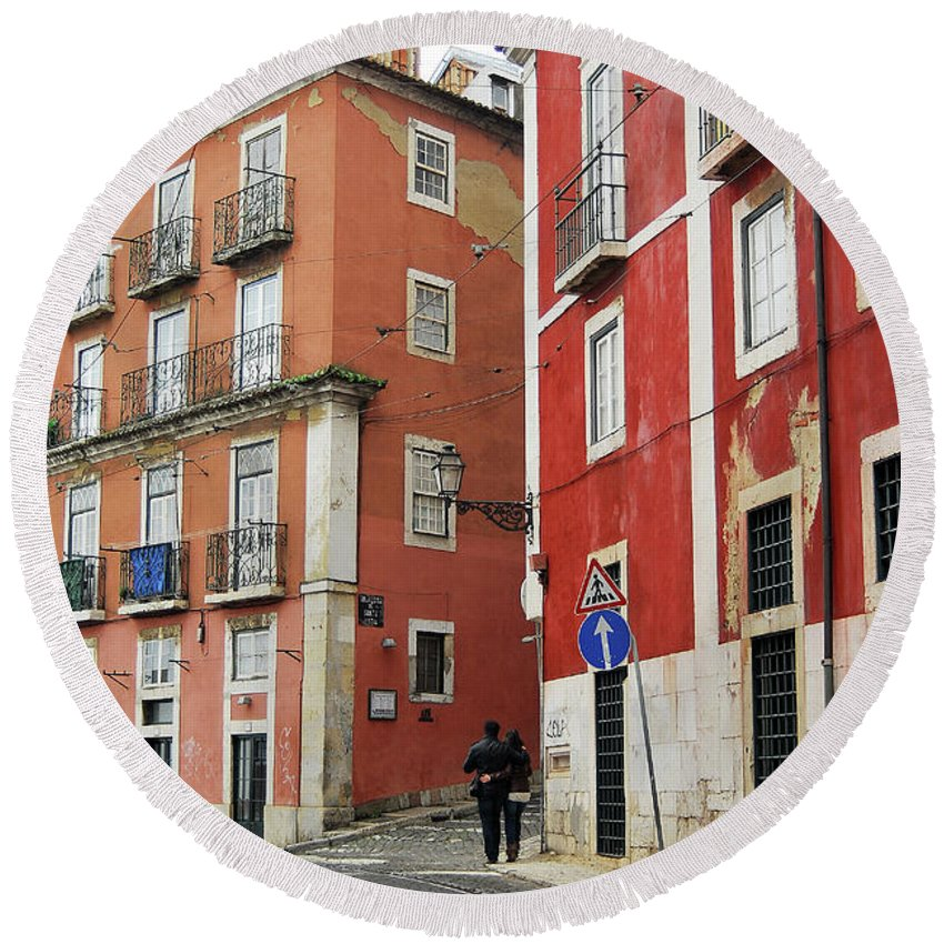 Street Round Beach Towel featuring the digital art Romantic Walking At Old Lisbon by Carlos Perez Muley