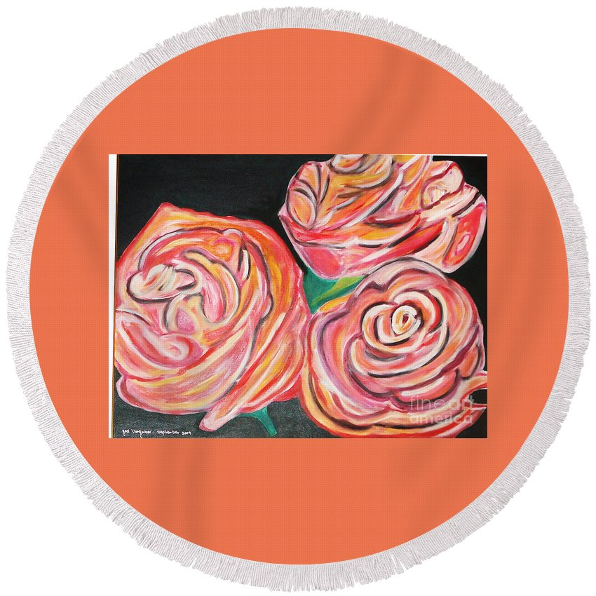 Acrylic Painting Round Beach Towel featuring the painting Romantic by Yael VanGruber