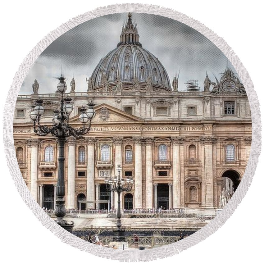 Rome Italy City Round Beach Towel featuring the pyrography Rome Italy St. Peter's Basilica by Yury Bashkin