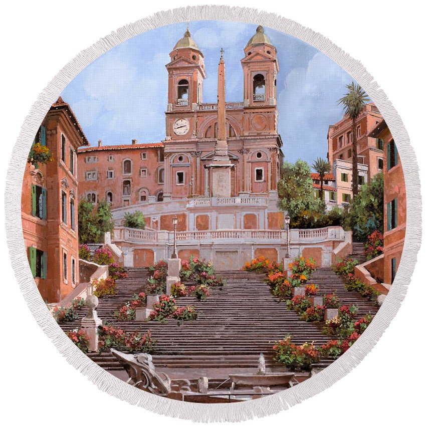 Rome Round Beach Towel featuring the painting Rome-piazza Di Spagna by Guido Borelli