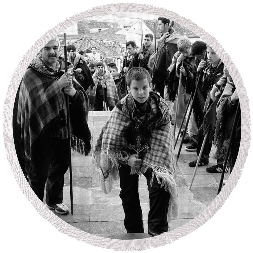 Group Round Beach Towel featuring the photograph Romeiros Pilgrims by Gaspar Avila