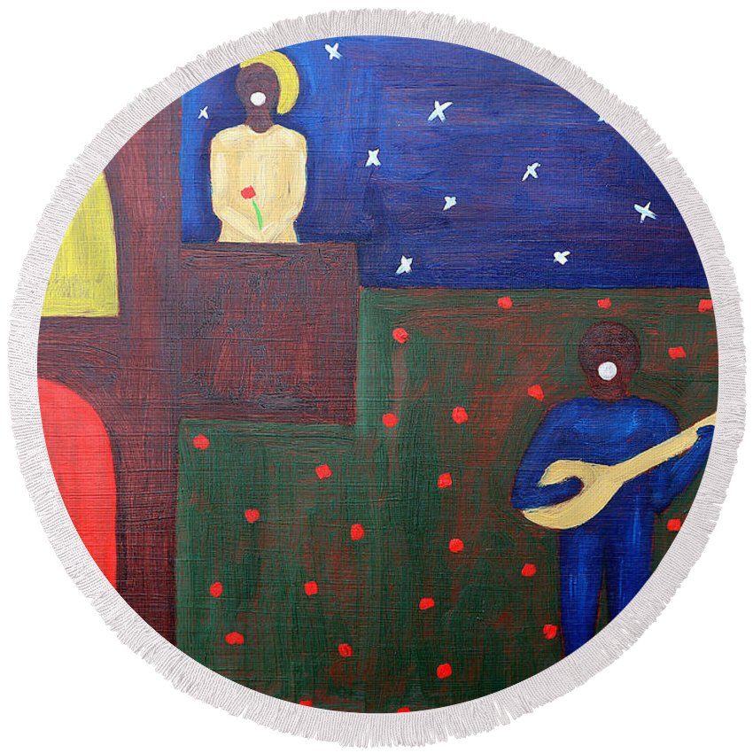 Romeo Round Beach Towel featuring the painting Romeo And Juliet 2 by Patrick J Murphy