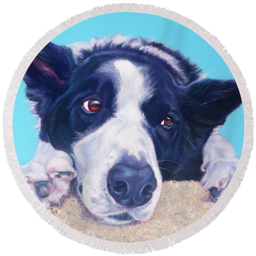 Border Collie Round Beach Towel featuring the painting Ronnie by Deborah Cullen