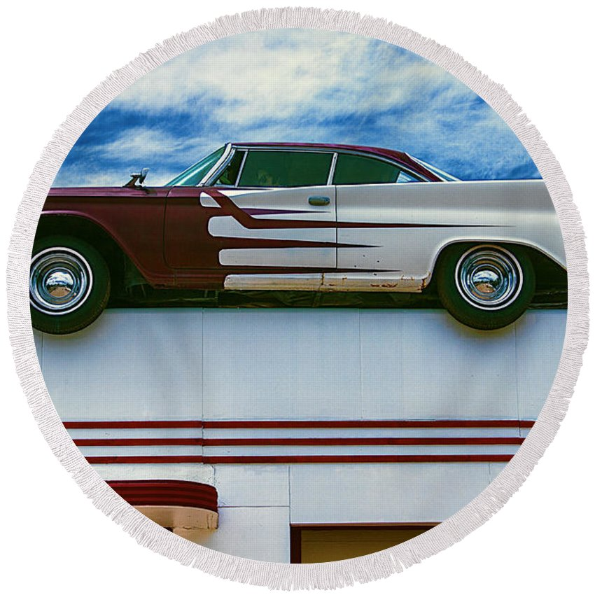 Roof Top Round Beach Towel featuring the photograph Roof Top Car by Garry Gay