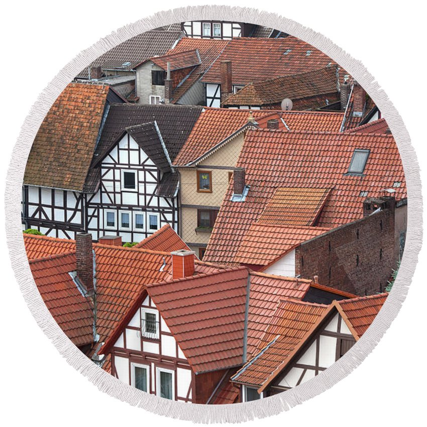Europe Round Beach Towel featuring the photograph Roofs Of Bad Sooden-allendorf by Heiko Koehrer-Wagner