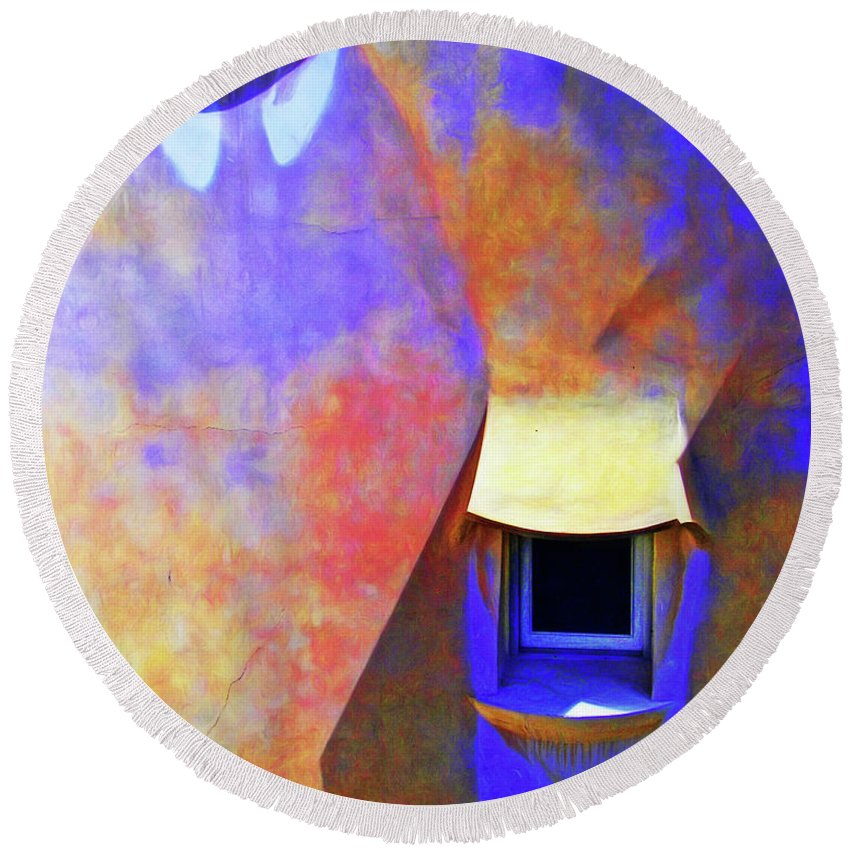 Rooftop Round Beach Towel featuring the photograph Rooftop Windows - Casa Mila by Nikolyn McDonald