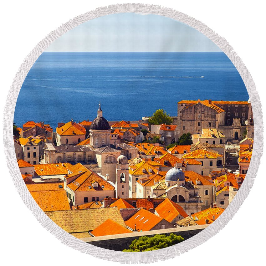 Adriatic Round Beach Towel featuring the photograph Rooftops Of Old Town Dubrovnik by Sandra Rugina