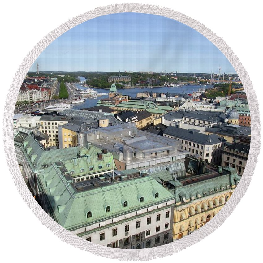 Skyview Tower Round Beach Towel featuring the photograph Rooftops Of Stockholm by Rosita Larsson