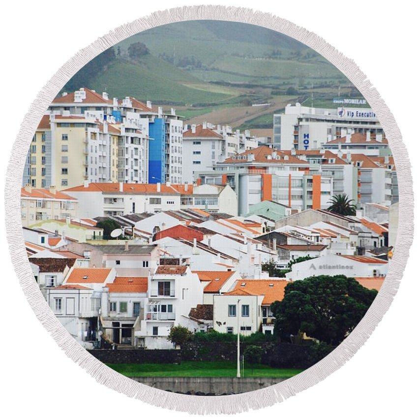 Ponta Delgada Round Beach Towel featuring the photograph Rooftops Of Ponta Delgada by David Coleman