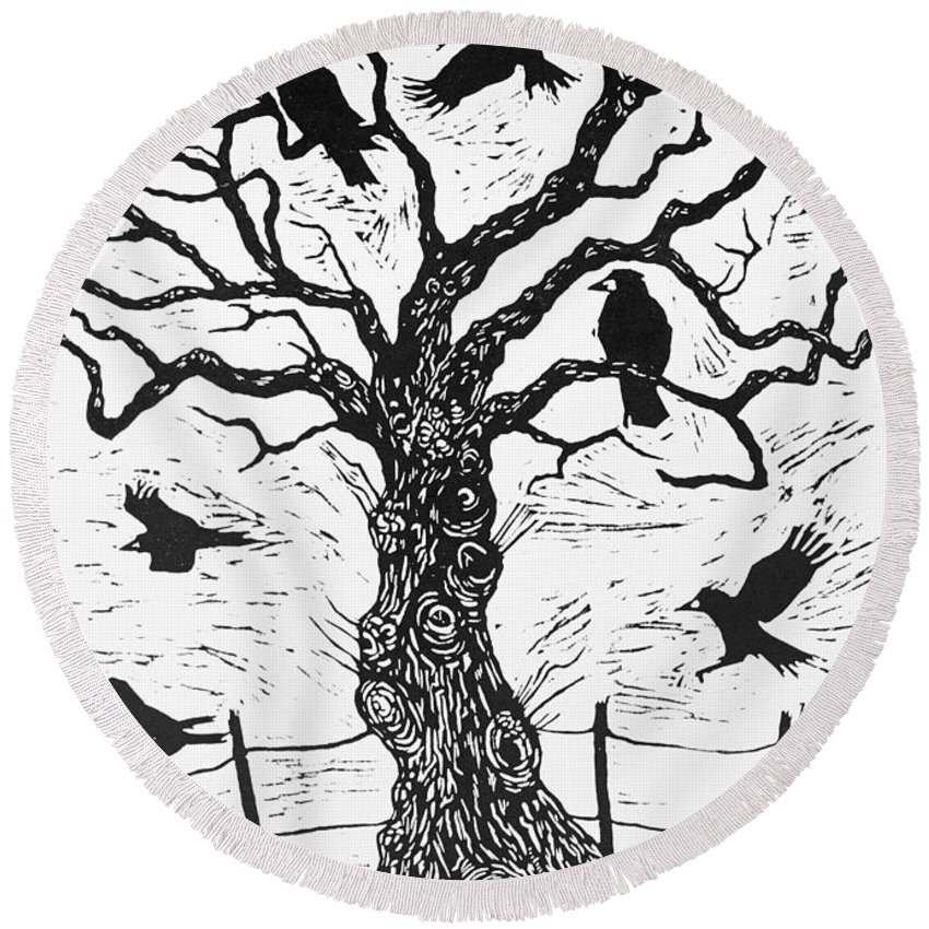 Bird Round Beach Towel featuring the painting Rook Tree by Nat Morley