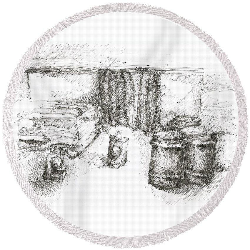 Room Drawing Pen Paper Round Beach Towel featuring the drawing Room by Lampros Christakis