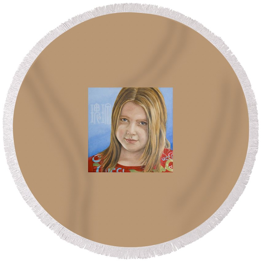 Portrait Round Beach Towel featuring the painting Roos by Rob De Vries