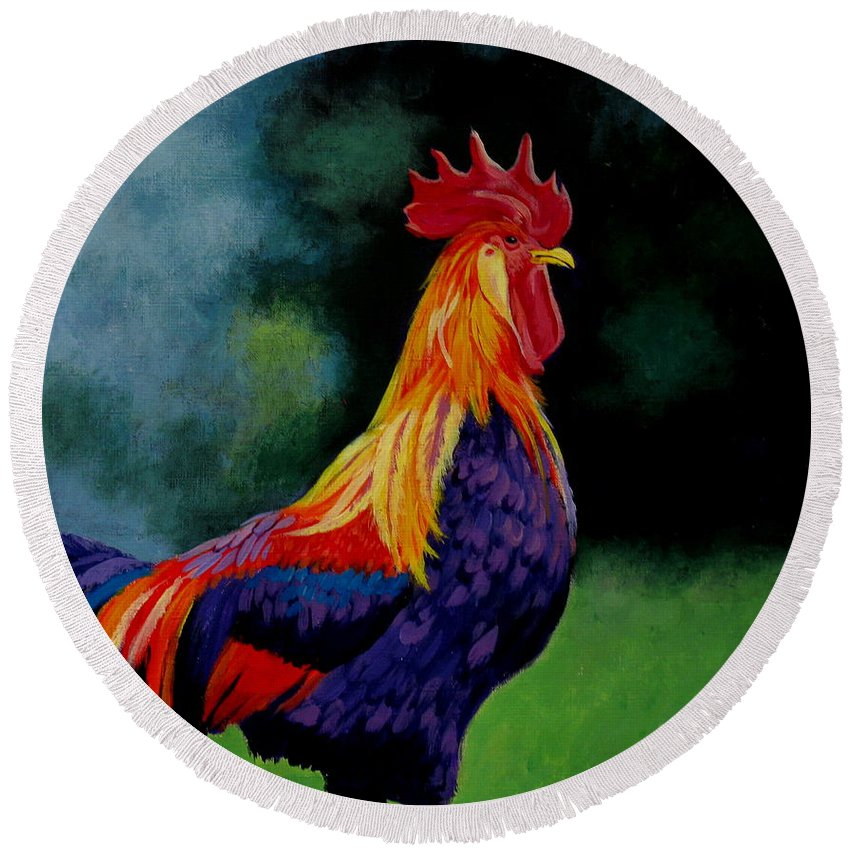 Rooster Round Beach Towel featuring the painting Rooster by Christopher Shellhammer