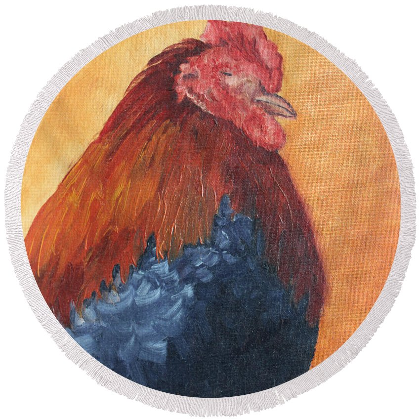 Animal Round Beach Towel featuring the painting Rooster by Todd Blanchard
