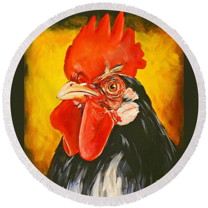 Rooster Round Beach Towel featuring the painting Rooster by Toni Grote
