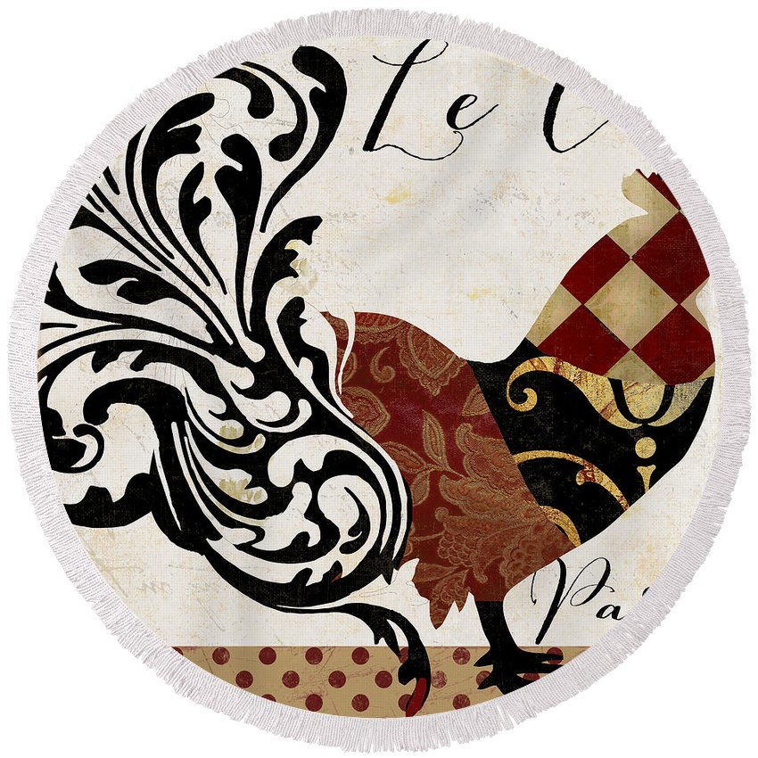 Roosters Round Beach Towel featuring the painting Roosters Of Paris II by Mindy Sommers