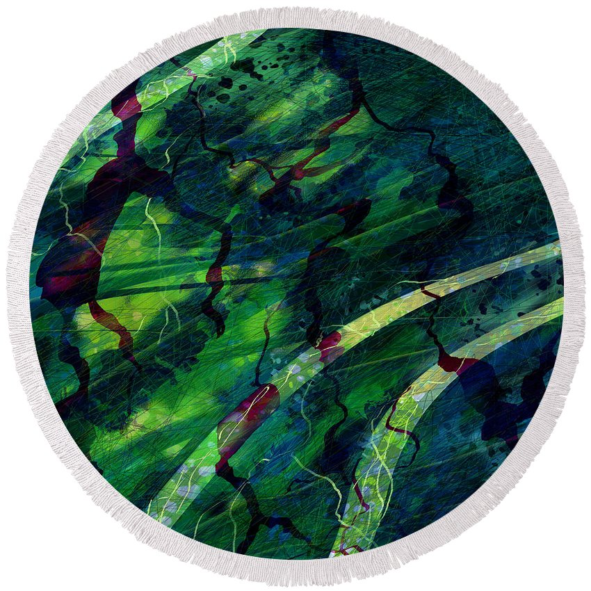 Abstract Round Beach Towel featuring the digital art Root Canal by William Russell Nowicki