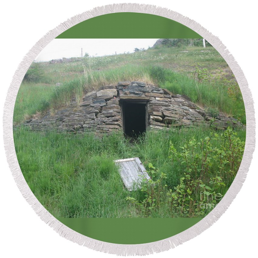 Photograph Cellar Old Green Newfoundland Round Beach Towel featuring the photograph Root Cellar by Seon-Jeong Kim