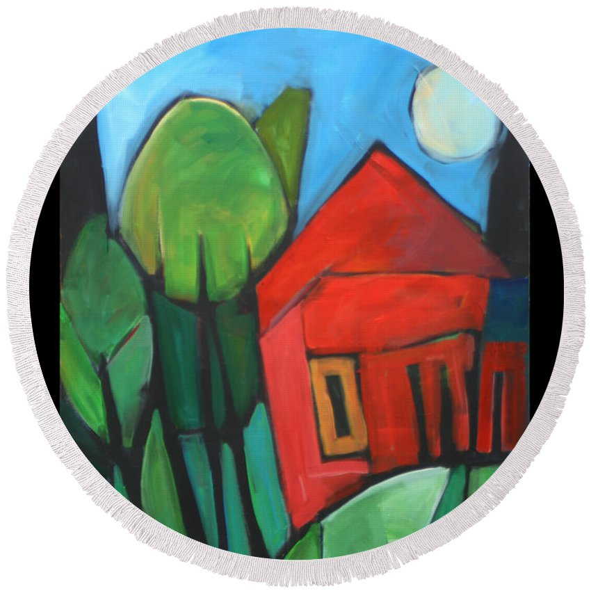 Trees Round Beach Towel featuring the painting Root Cellar by Tim Nyberg