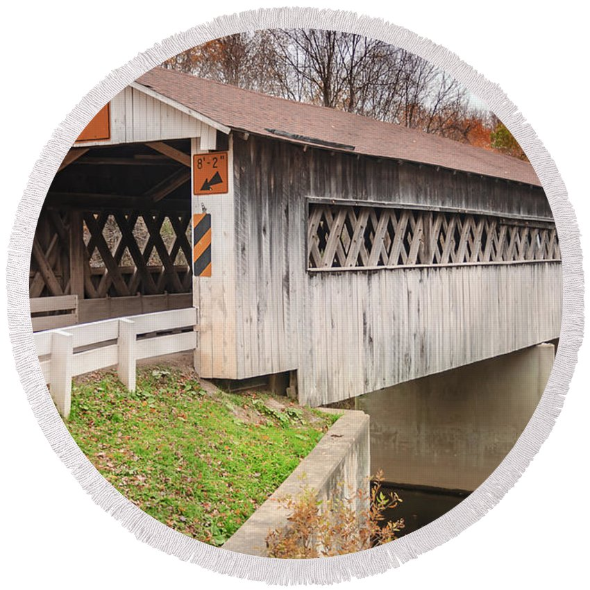 Bridge Round Beach Towel featuring the photograph Root Rd Covered Bridge by Jack R Perry