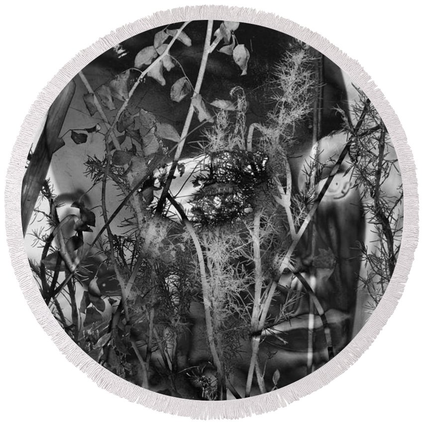 Abstract Round Beach Towel featuring the photograph Roots Help Ripe by The Artist Project