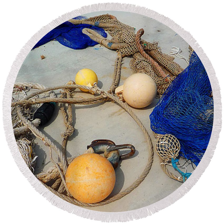 Fishing Net Round Beach Towel featuring the photograph Ropes Nets And Bouys by Charles Stuart