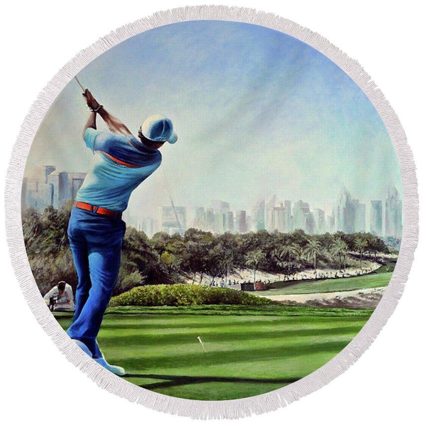 Rory Mcilroy Round Beach Towel featuring the painting Rory At Ddc Emirates Gc Dubai 8th 2014 by Mark Robinson