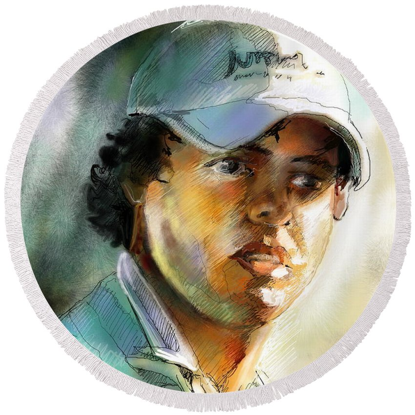 Portrait Painting Golfer Golfart Rory Mcilroy Pga Tour Round Beach Towel featuring the painting Rory Mcilroy by Miki De Goodaboom