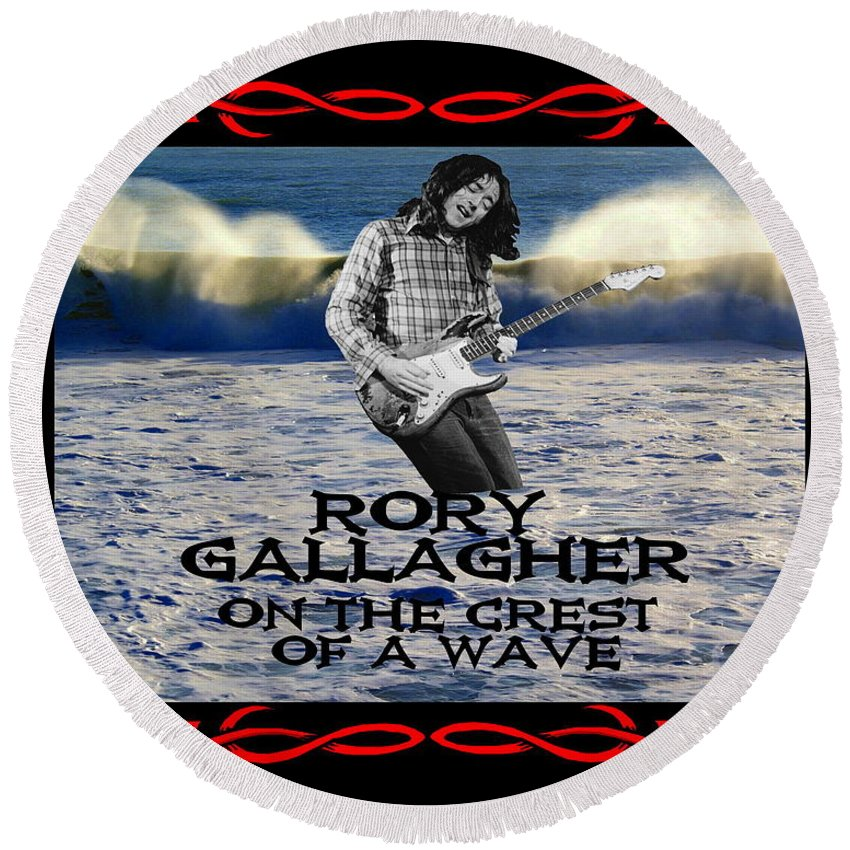 Rory Gallagher Round Beach Towel featuring the photograph Crest Of A Wave 3 by Ben Upham